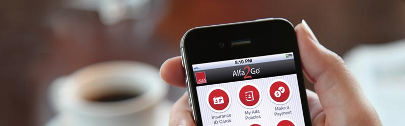 iPhone Running Alfa2Go Smartphone App