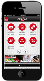 Apple iPhone Running Alfa2Go Application