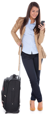 Woman With Suitcase Looking At Smartphone