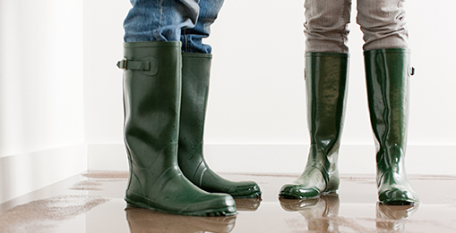 image of two people shown from the knees down in knee-high boots standing in water in a house.