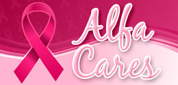 Hot pink breast cancer awareness ribbon with Alfa cares text