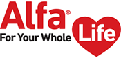 "Red Heart Image with text ""Alfa For Your Whole Life"""